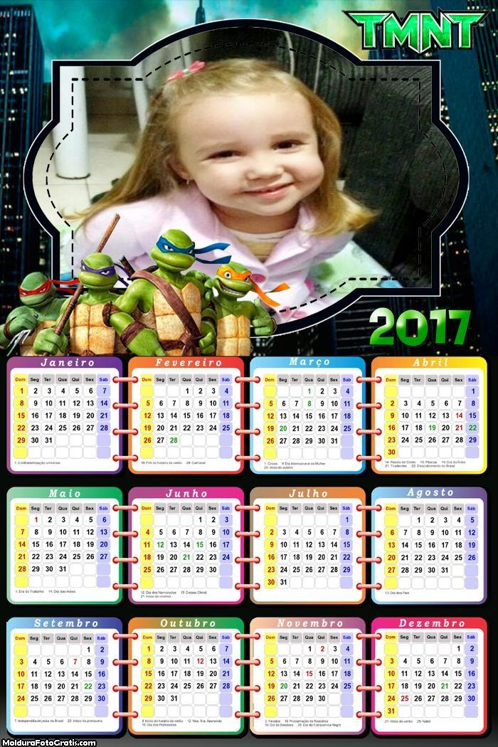 Calendário Tartarugas Ninjas Desenho 2017