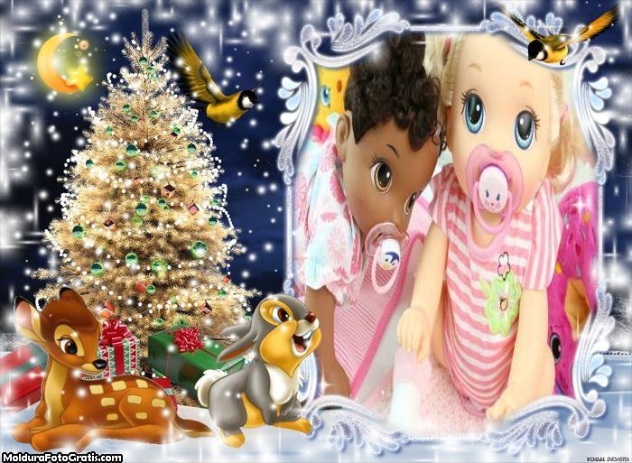 Árvore Iluminada e Animais no Natal