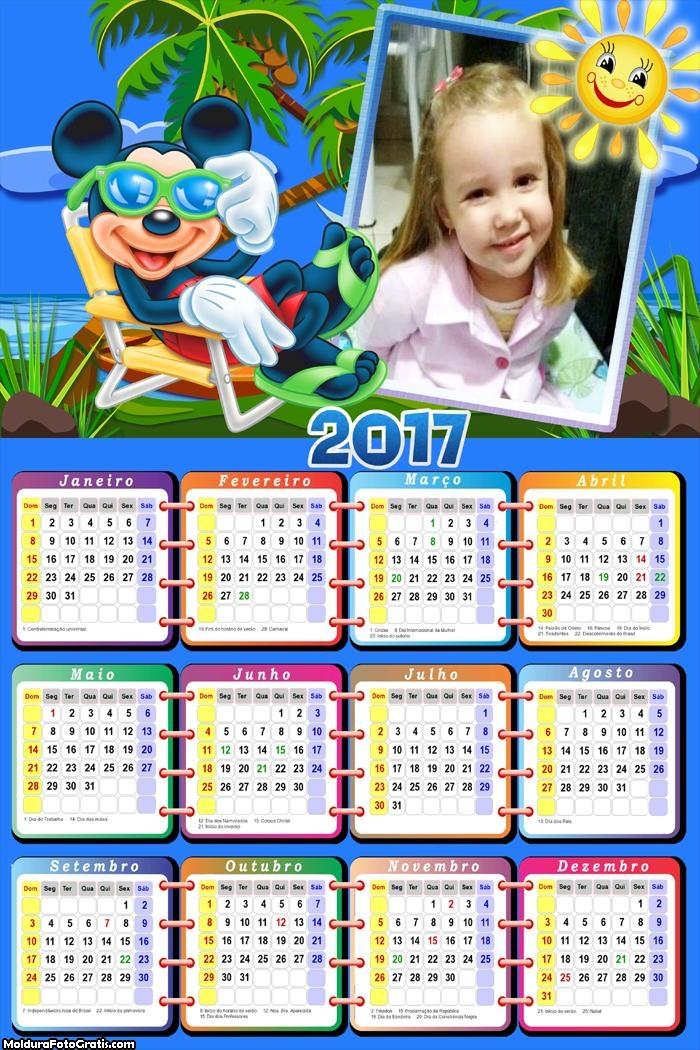 Calendário Mickey Disney Férias 2017