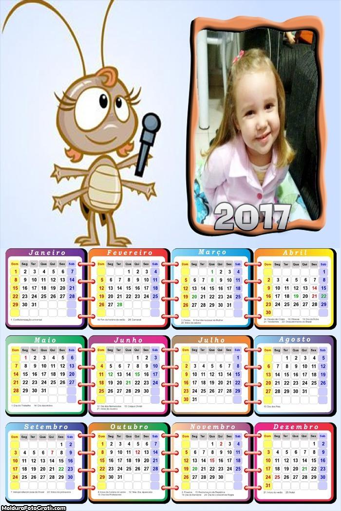 Calendário Baratinha Galinha Pintadinha 2017
