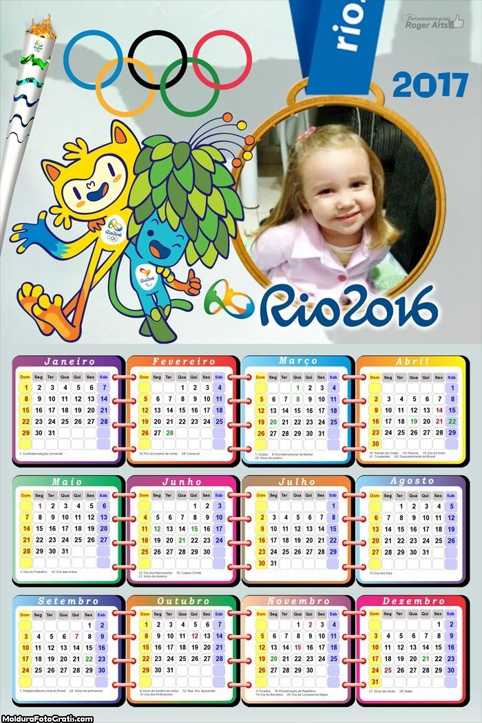 Calendário Olimpíadas Rio de Janeiro 2017