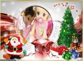 Papai Noel na Sala de Estar FotoMoldura