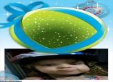 FotoMoldura Bola de Natal Verde e Azul