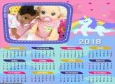 Calendário Unicórnio Rosa 2018