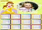Calendário Princesa Bela Vestido Amarelo FotoMoldura 2017