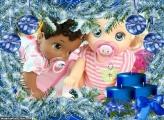 Velas Azuis de Natal FotoMoldura