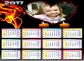 Calendários Romântico Coração e Velas 2017