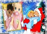 Papai Noel e Garotinho FotoMoldura