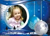 Natal Azul Foto Moldura