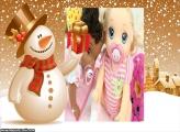 Presente e Boneco de Neve Dourado