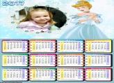 Calendário Princesa Cinderela Vestido Azul FotoMoldura 2017
