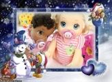 Bonequinho de Neve no Natal FotoMoldura