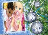 Bolas Prata de Natal FotoMoldura