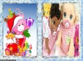 Ursinho Cor de Rosa de Natal FotoMoldura