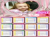 Calendário Romântico Coração Rosa 2017