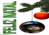 FotoMoldura Bola de Natal Vermelha