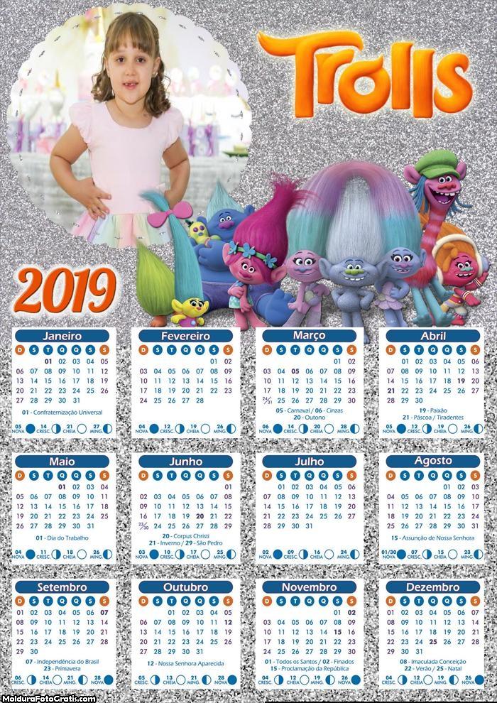 Calendário dos Trolls 2019