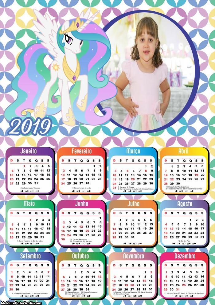 Calendário Princesa Celestia 2019