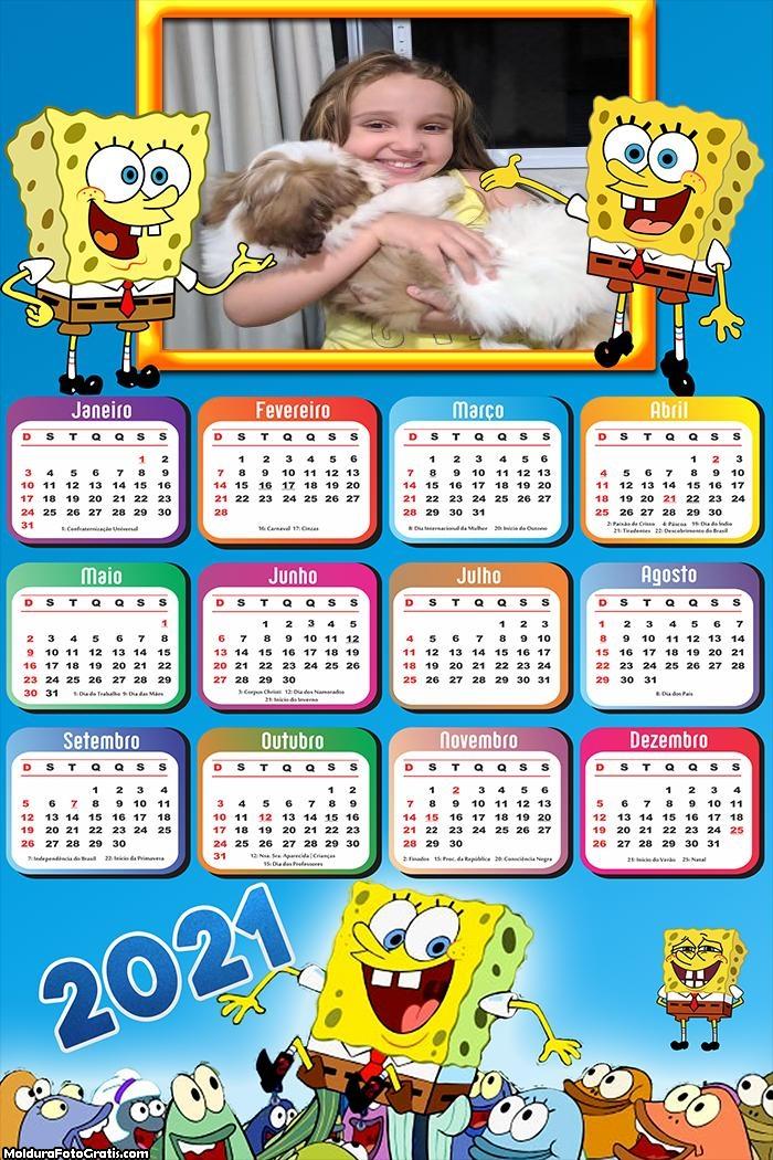 Calendário Bob Esponja 2021