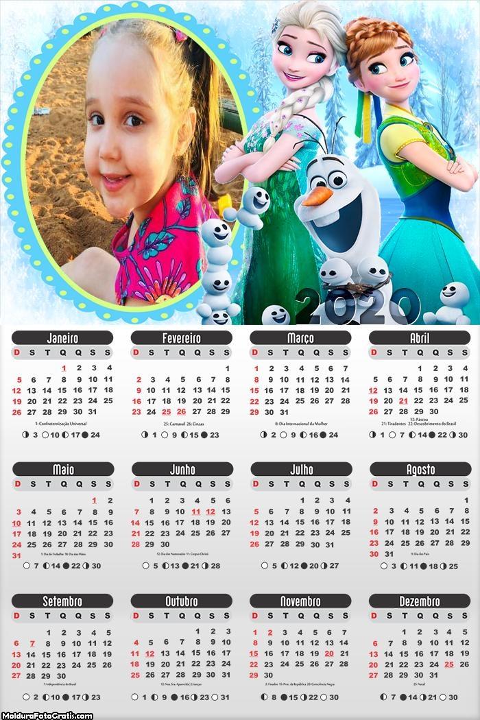 Calendário Elsa e Anna Frozen 2020