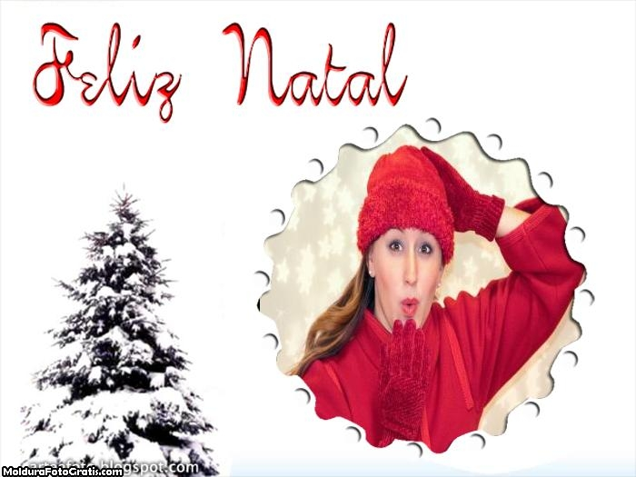 Feliz Natal Árvore Branca de Neve Moldura