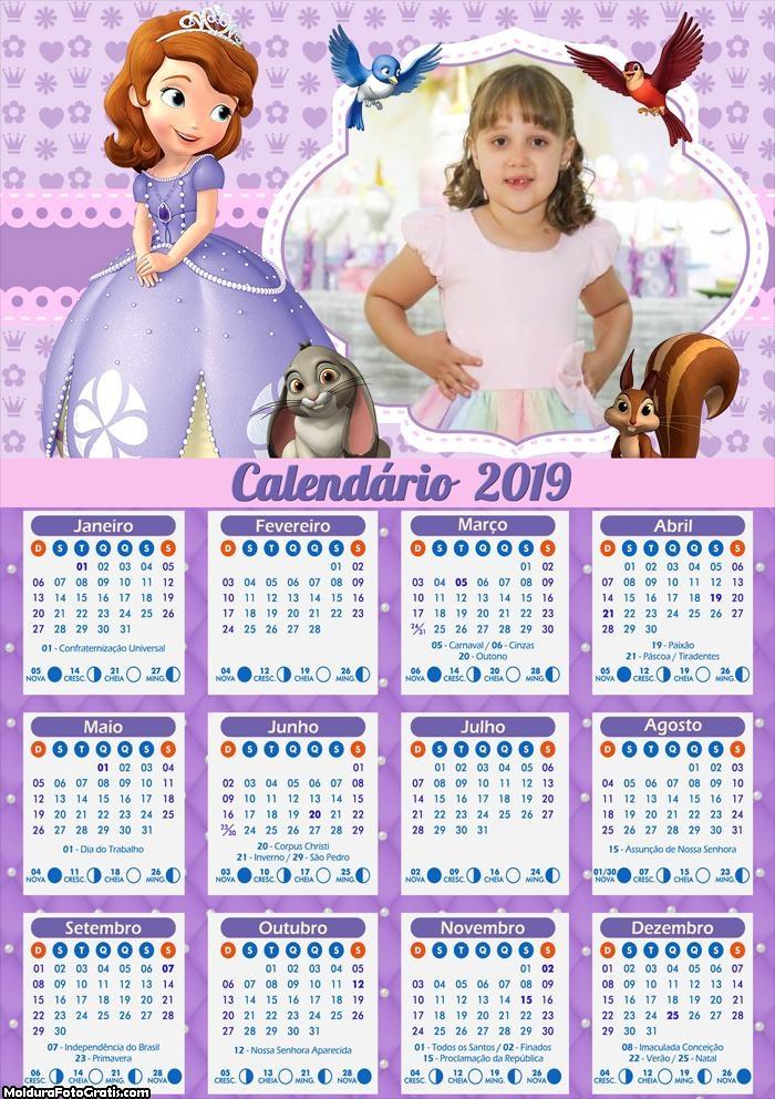 Calendário Princesinha Sofia 2019