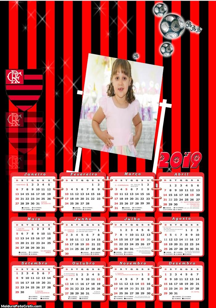 Calendário Flamengo 2019 Moldura