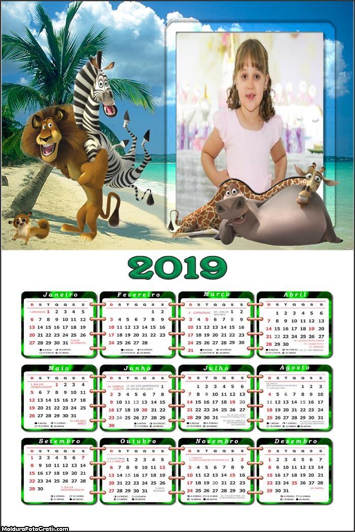 Calendário Madagascar 2019 Moldura