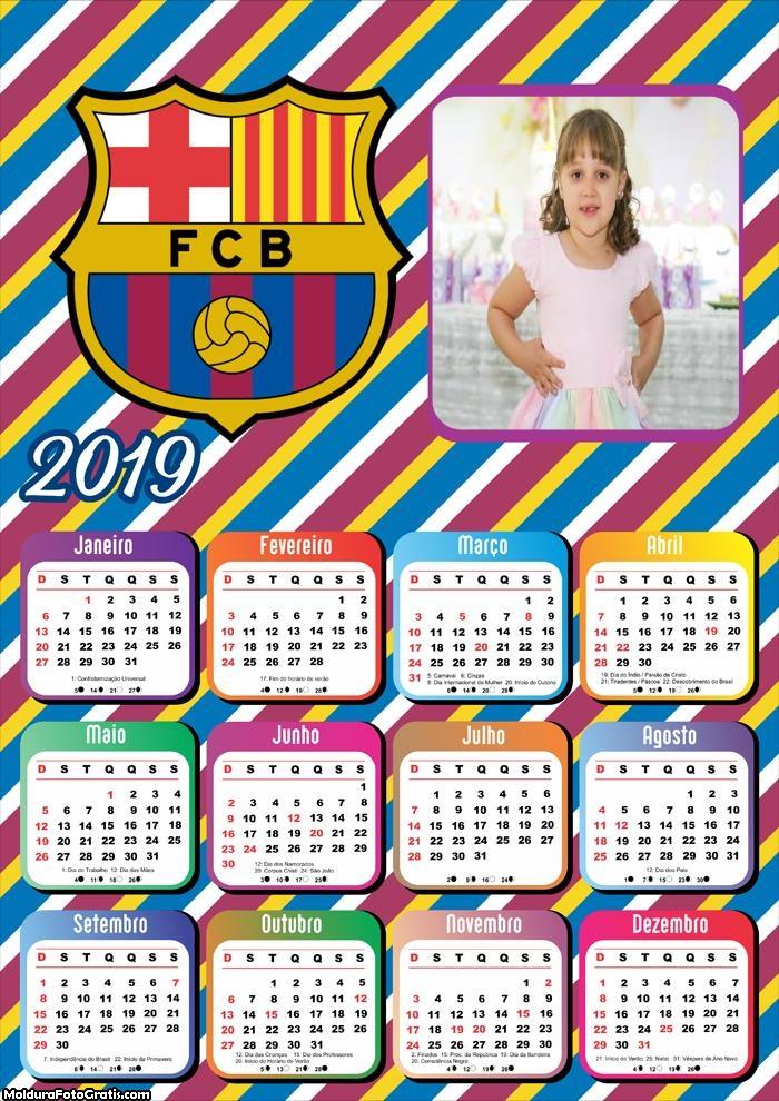 Calendário Barcelona 2019 Moldura