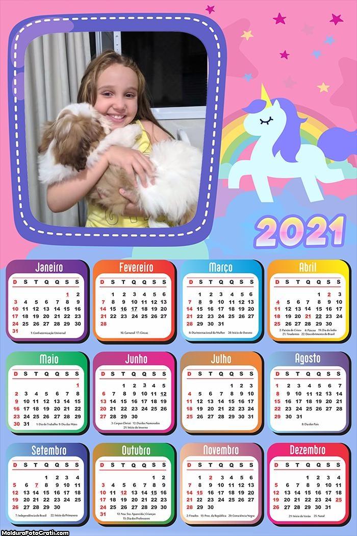 Calendário Unicórnio Candy Color nas Nuvens 2021