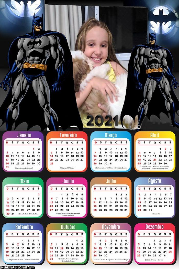 Calendário Batman Desenho 2021