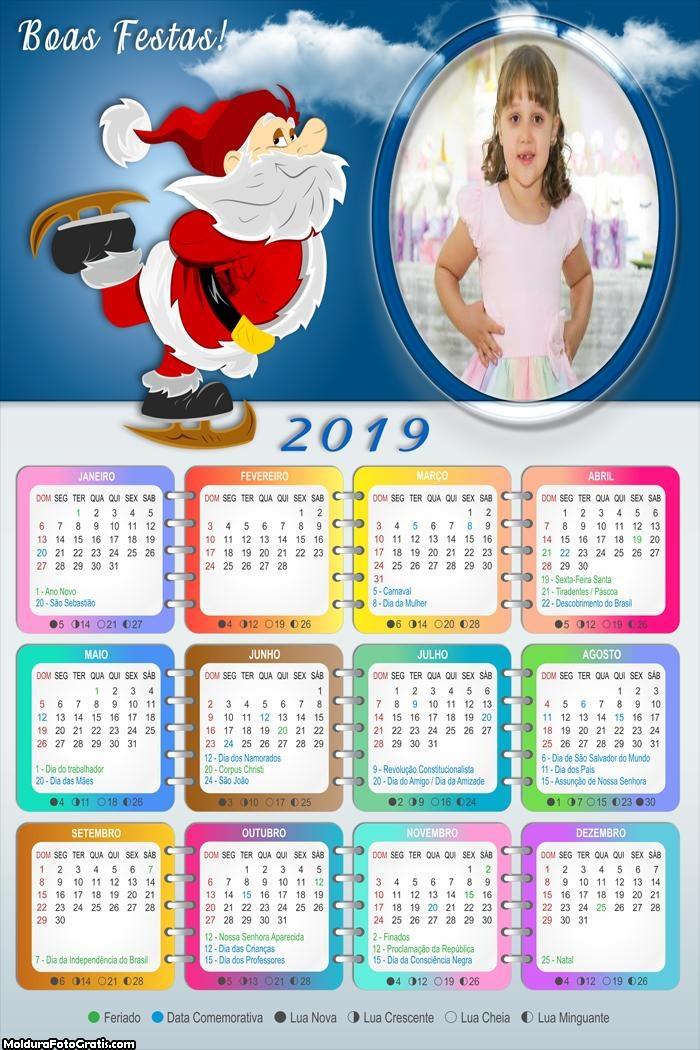 Calendário Papai Noel Esquiando 2019