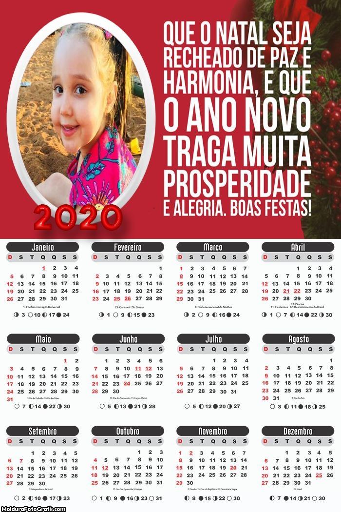Calendário Natal e Ano Novo 2020