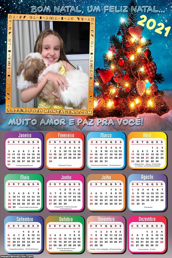 Calendário Muito Amor e Paz Feliz Natal 2021