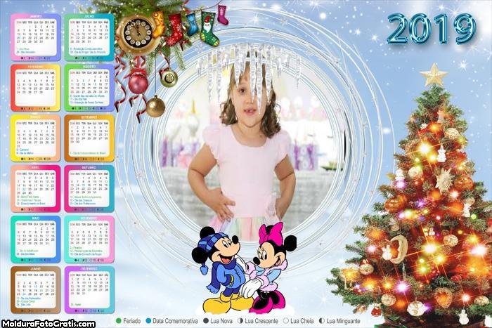 Calendário Árvore Natalina Mickey e Minnie 2019