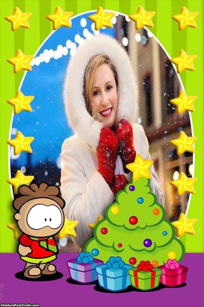 Desenho Menino e Árvore de Natal