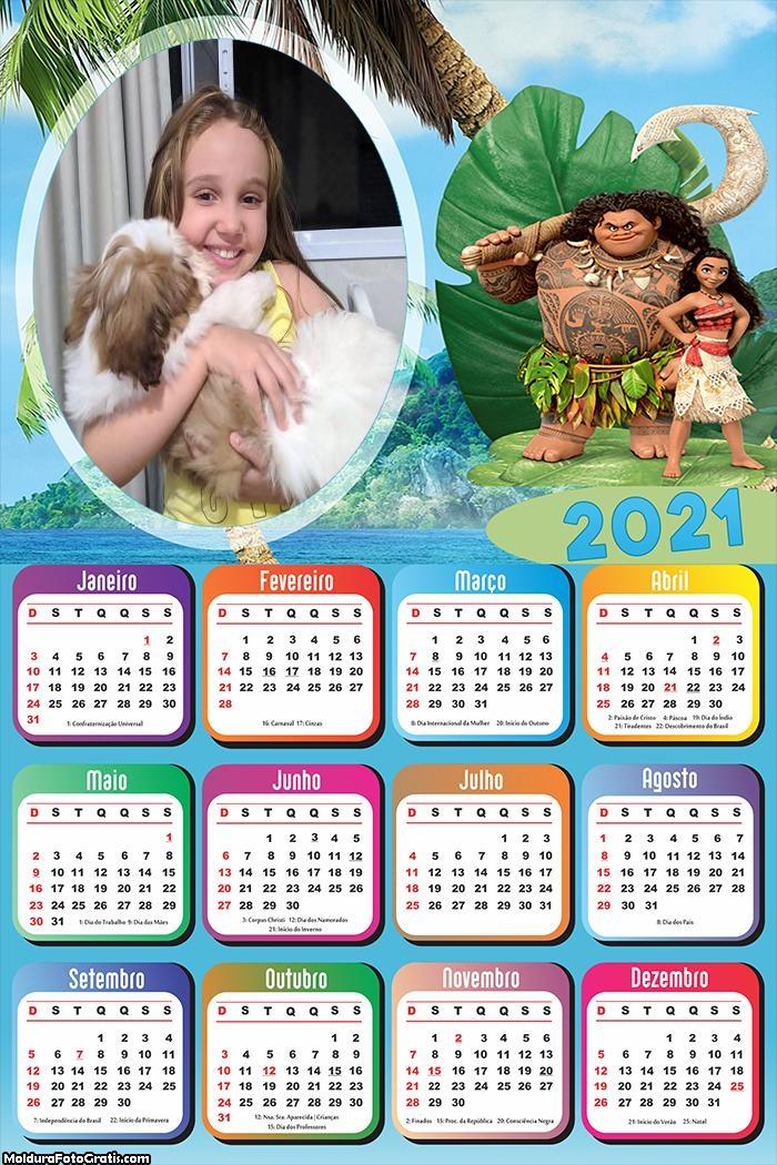 Calendário Chefe Tui e Moana 2021