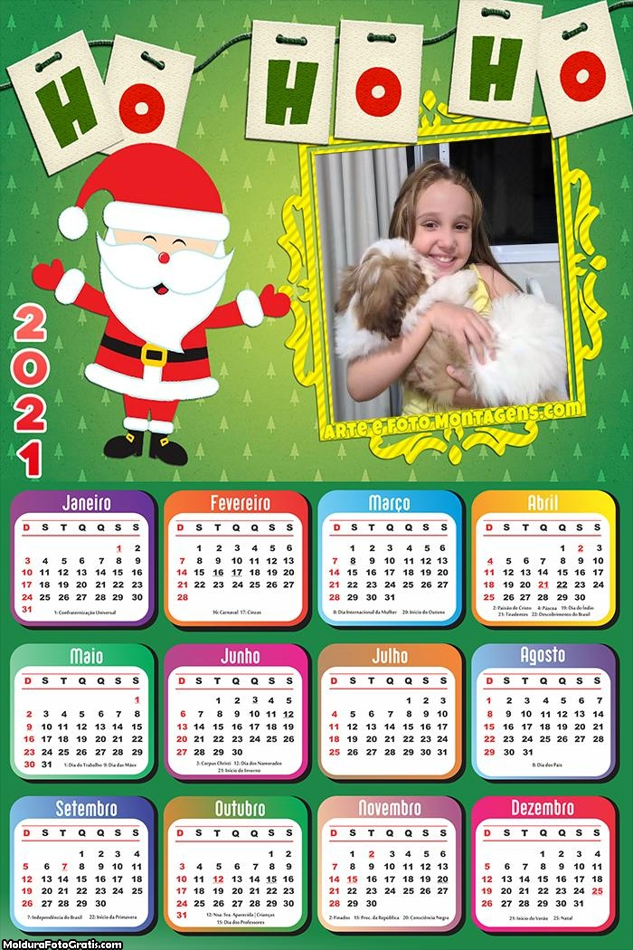 Calendário Papai Noel Ho Ho Ho 2021