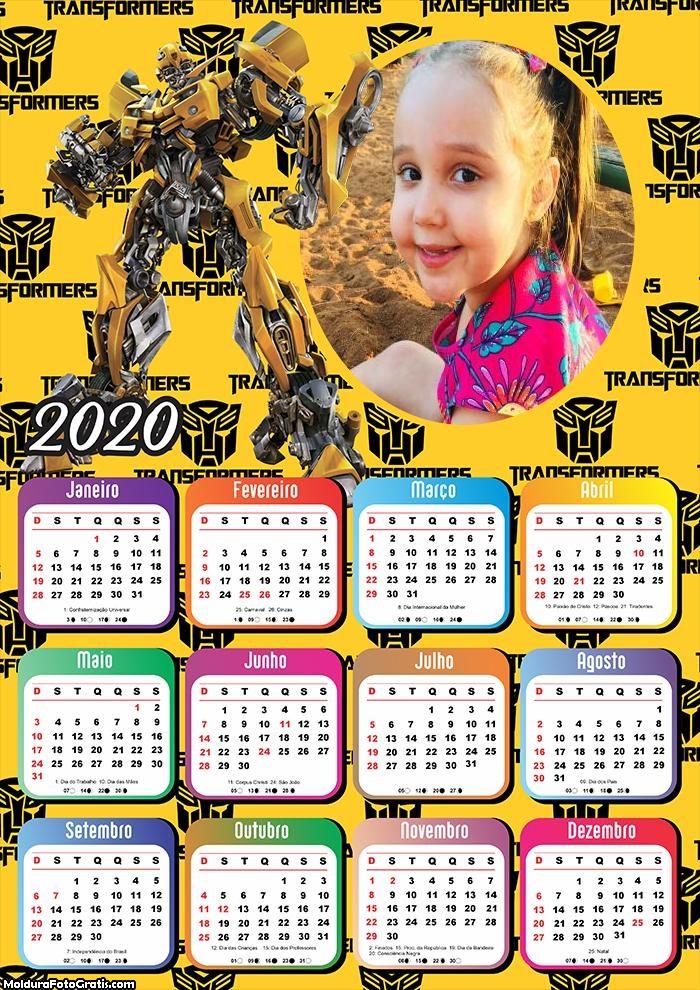 Calendário Transformes 2020