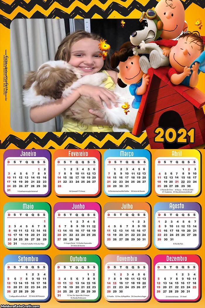 Calendário Snoopy Desenho 2021