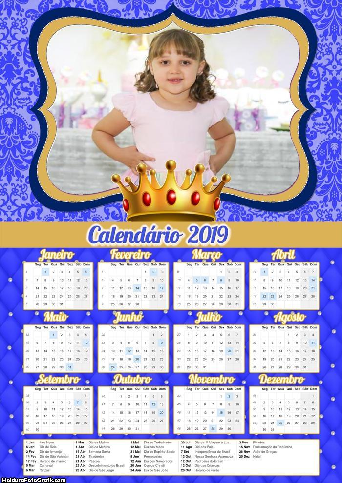 Calendário Realeza Menino 2019