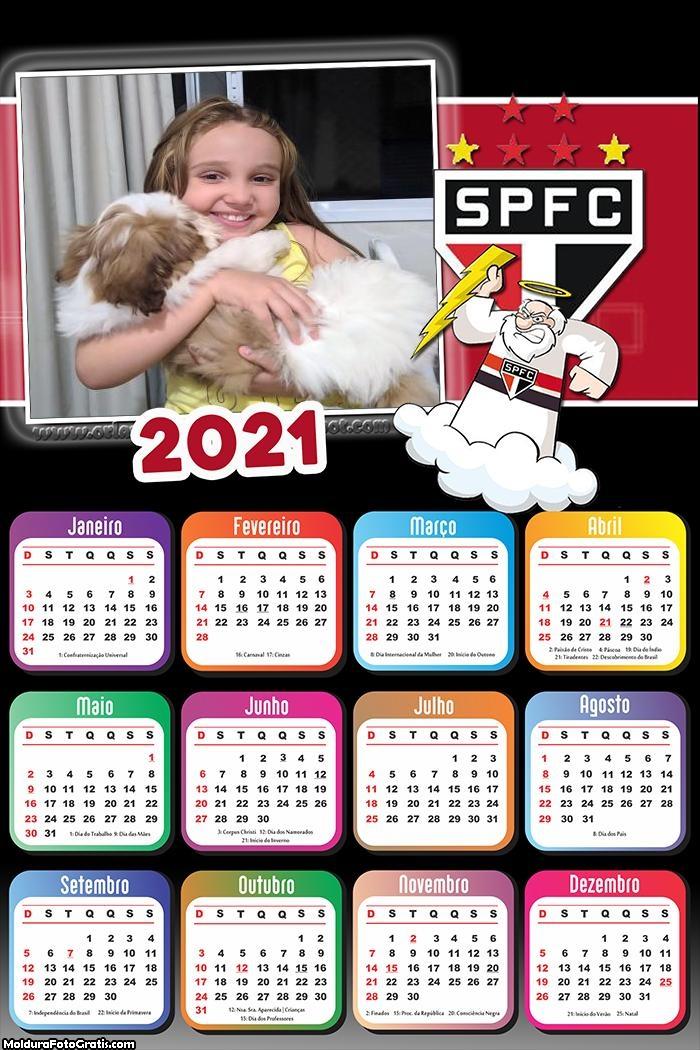 Calendário Mascote São Paulo Futebol 2021