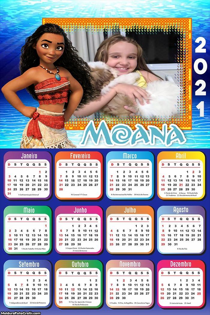 Calendário Moana 2021
