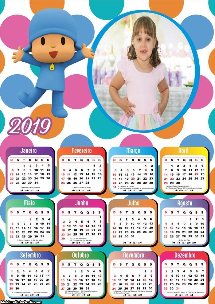 Calendário Pocoyo e Seus Amigos 2019