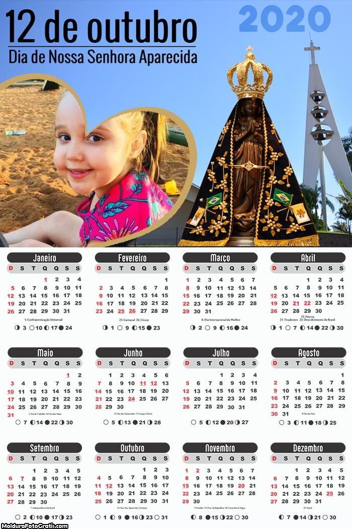 Calendário 12 de Outubro Nossa Senhora 2020