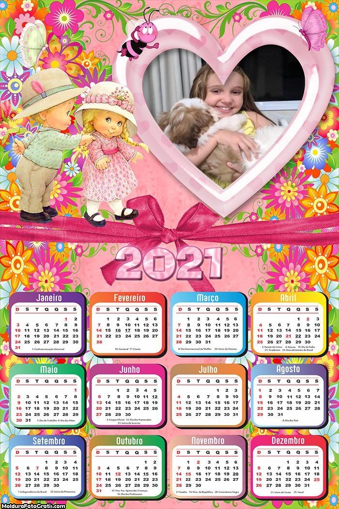 Calendário Infantil Crianças 2021