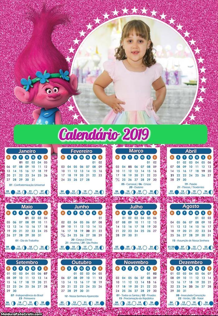 Calendário da Poppy Trolls 2019