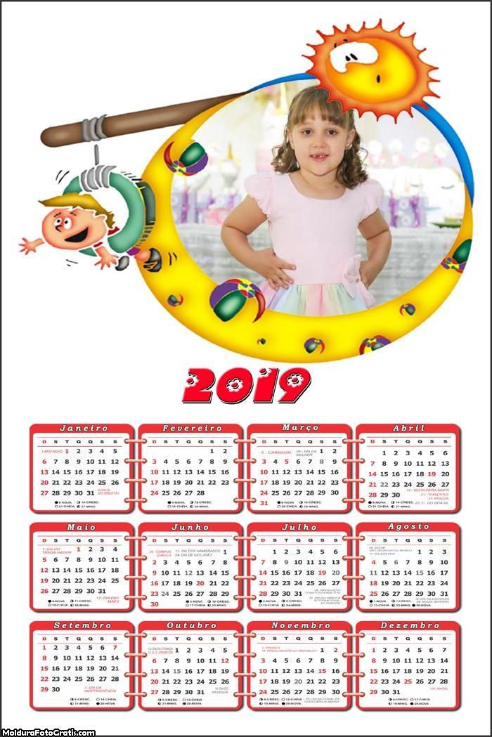 Calendário na Praia 2019 Moldura