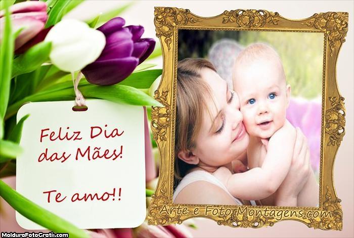 Moldura Flores com Cartão Dia das Mães