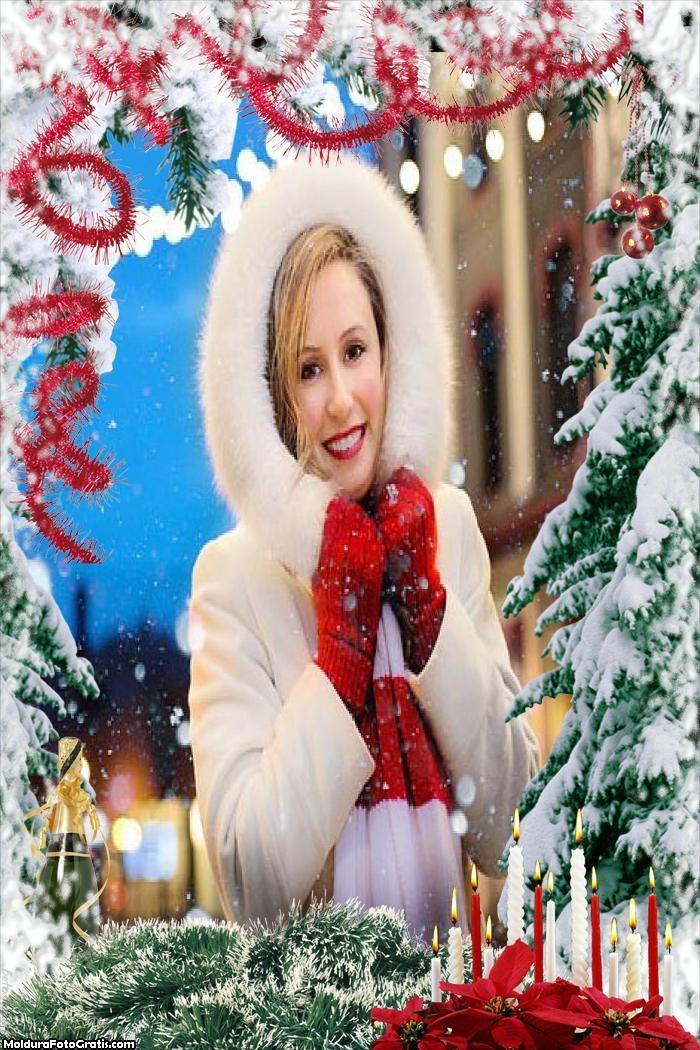 Árvore de Natal com Neve Moldura